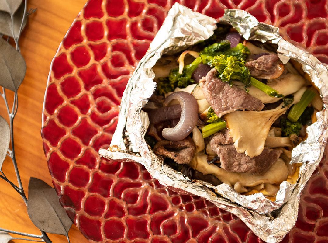 鹿肉と舞茸のホイル焼き